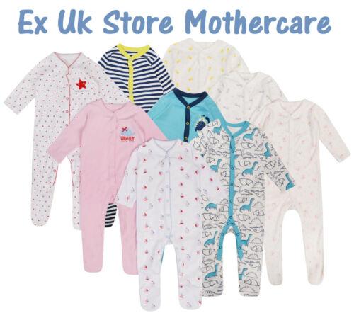 BABY BOYS GIRLS 3 PACK SLEEPSUITS EX UK STORE 0-36M BABYGROWS COTTON BRAND NEW