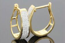 .45 CARAT WOMENS LADIES YELLOW GOLD FINISH DIAMOND HOOPS EARRINGS HUGGIE STUDS