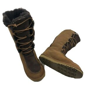 Womens-UGG-Boots-Tall-Suede-Sherpa-Faux-Fur-Lined-Lace-Up-Size-5