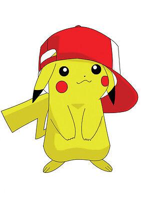 Dedito Sticker Autocollant Poster A4 Pokemon .personnage Pikachu Avec Casquette .