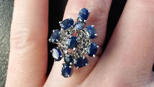 5.85 Carat Natural Sapphire Ring / Genuine Sapphire Ring Size 8 / 34.5 tcw