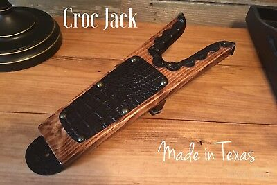 With Crocodile Trimming Deluxe Wood ** Boot Jack ** Boot Puller ** Shoe Remover
