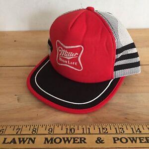 Vintage Miller High Life Trucker Hat With 3 side stripe   bill ... b013ded76951