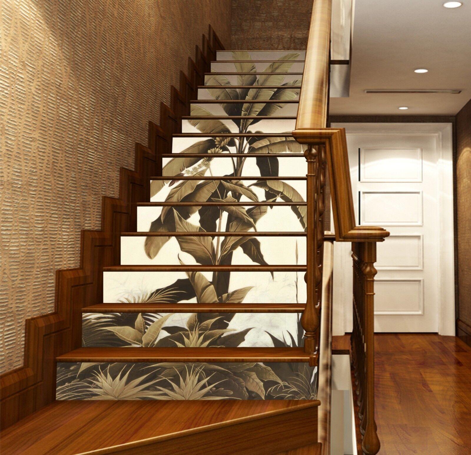 Patrón de hojas de 3D Decoración Mural Foto escalera escalera escalera elevadores nos fondo de pantalla de la etiqueta del vinilo e457f6