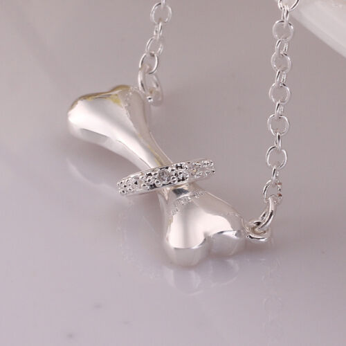 """Wholesale 925Sterling Silver Jewelry Bone Ring Pendant Woman Necklace 18/"""" NB624"""