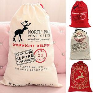 Hessian Christmas Santa Claus Sack Stocking Bag XMAS Children Gifts Decoration L