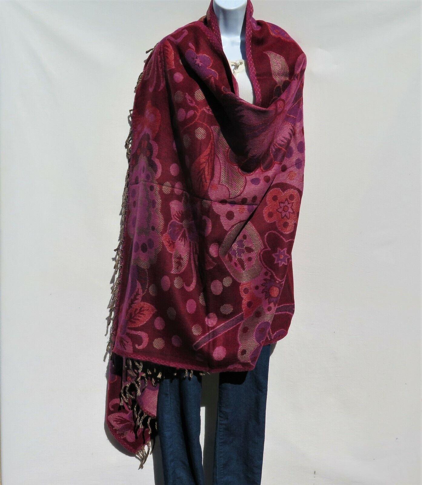 Yak+Sheep Wool Flora Shawl Throw Wrap  Handloomed Reversal Base color  Plum