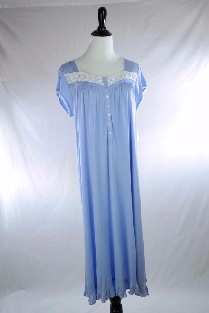 EILEEN WEST Lenzing Modal Cap Sleeve Nightgown Ruffle Embroidery Periwinkle Sz S