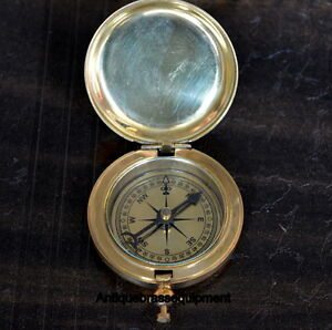 Antique vintage maritime brass push button pocket compass with brass chain gift