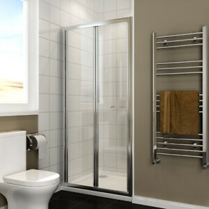 Bi Fold Shower Glass Sliding Door Walk in Wet Room And Stone Tray Saving Space
