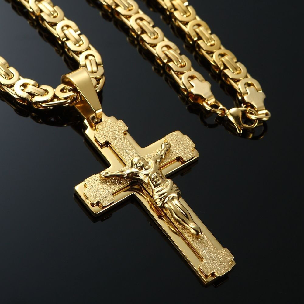 Luxury mens 18k gold filled necklace chain cross pendant bracelet mens stainless steel cross necklace chain 18k gold filled jesus pendant 24 aloadofball Image collections