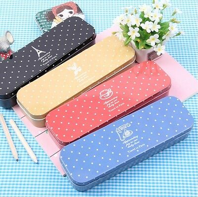 """Cute Dot"" 1pc Metal Pencil Case Pocket Pencil Box Pencil Bag Pen Box Stationery"