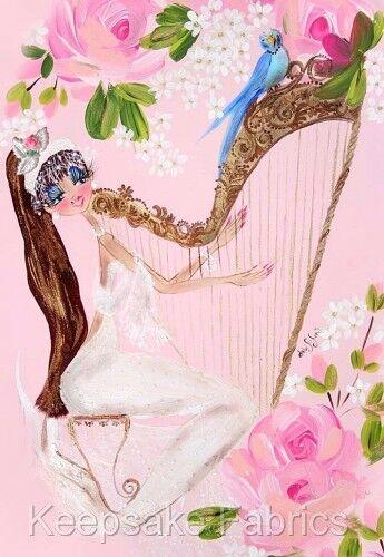 Mermaid Harp Bluebird ~ Cotton Quilt Block FrEE ShiPPinG WoRld WiDE