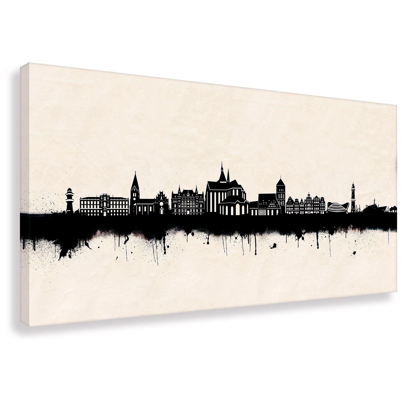 Kunstdruck auf Leinwand - Street Art - Skyline Rostock SW (div. Größen) Wandbild