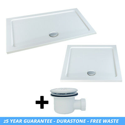 45mm Slimline Rectangle Stone Resin Tray For Shower Enclosure FREE Waste Trap