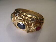 Beautiful Estate 14K Yellow Gold Diamond Ruby Sapphire Emerald Band Ring