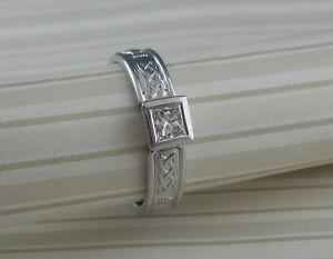14K-White-Irish-Celtic-Claddagh-Diamond-Engagement-Ring-SIZE-7-5-Ireland-FADO