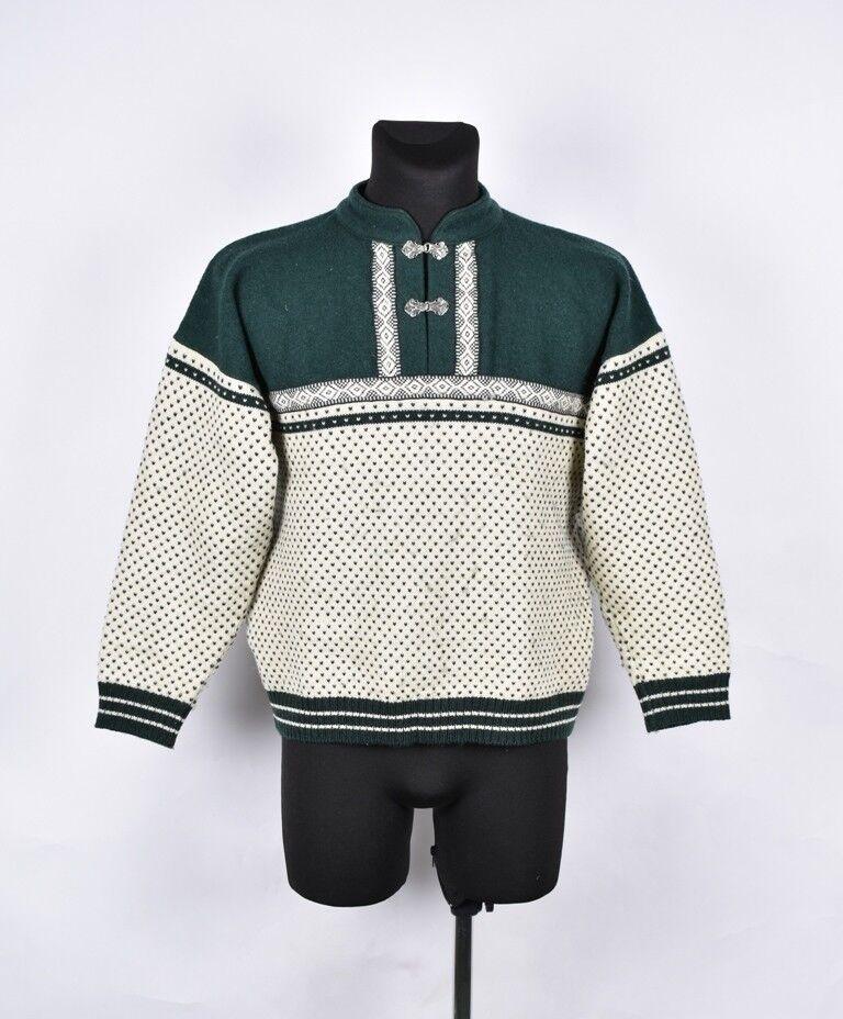 Devold 1/4 Buttons Men Vintage Look Wool Sweater Größe M, Genuine