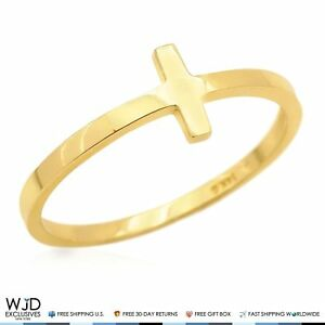 14K-Solid-Yellow-Gold-Polished-Sideways-Cross-Design-Ring-Size-5-8