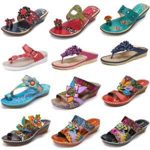 SOCOFY-Women-039-s-Handmade-Bohemian-Slippers-Platform-Wedge-Shoes-Leather-Pumps