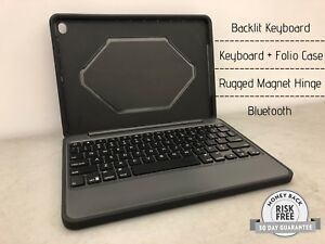 98082b6efd4 Zagg Rugged Book Case for Apple iPad Air 2, Backlit Keyboard, BT ...