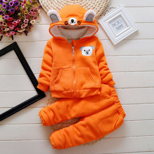Baby Warm Clothing Sets Toddler Thick Velvet Outfits For Boys Fleece Tracksuits