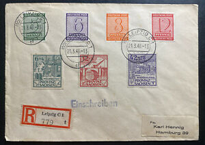 1946 Leipzig Germany Provisional Occupation Stamps Postwar Cover To Hamburg