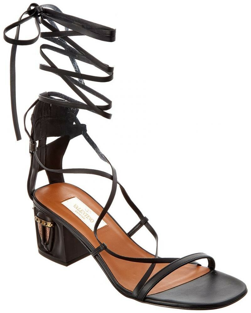 1595 NWOB VALENTINO VALENTINO VALENTINO Tribal Lace-Up Leather Gladiator Sandal in Black Size 8.5 9f7746