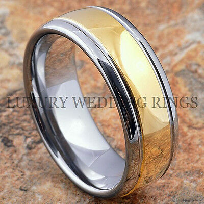 Tungsten Carbide Ring 18k Gold Wedding Band Men & Women Bridal Jewelry Size 6-13