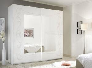 Armadio Bianco Con Specchio.Dettagli Su Soler Armadio Scorrevole Con Specchio 220 Bianco Opaco E Serigrafia Floreale