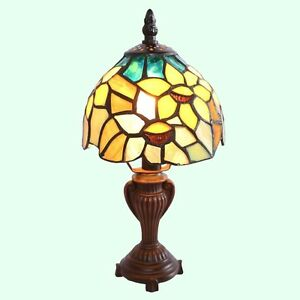 Small Stained Glass Desk Lamp Tiffany Style Shade Handcraft Table Accent Light Ebay