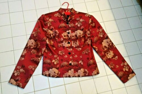 Red silk brocade bolero jacket