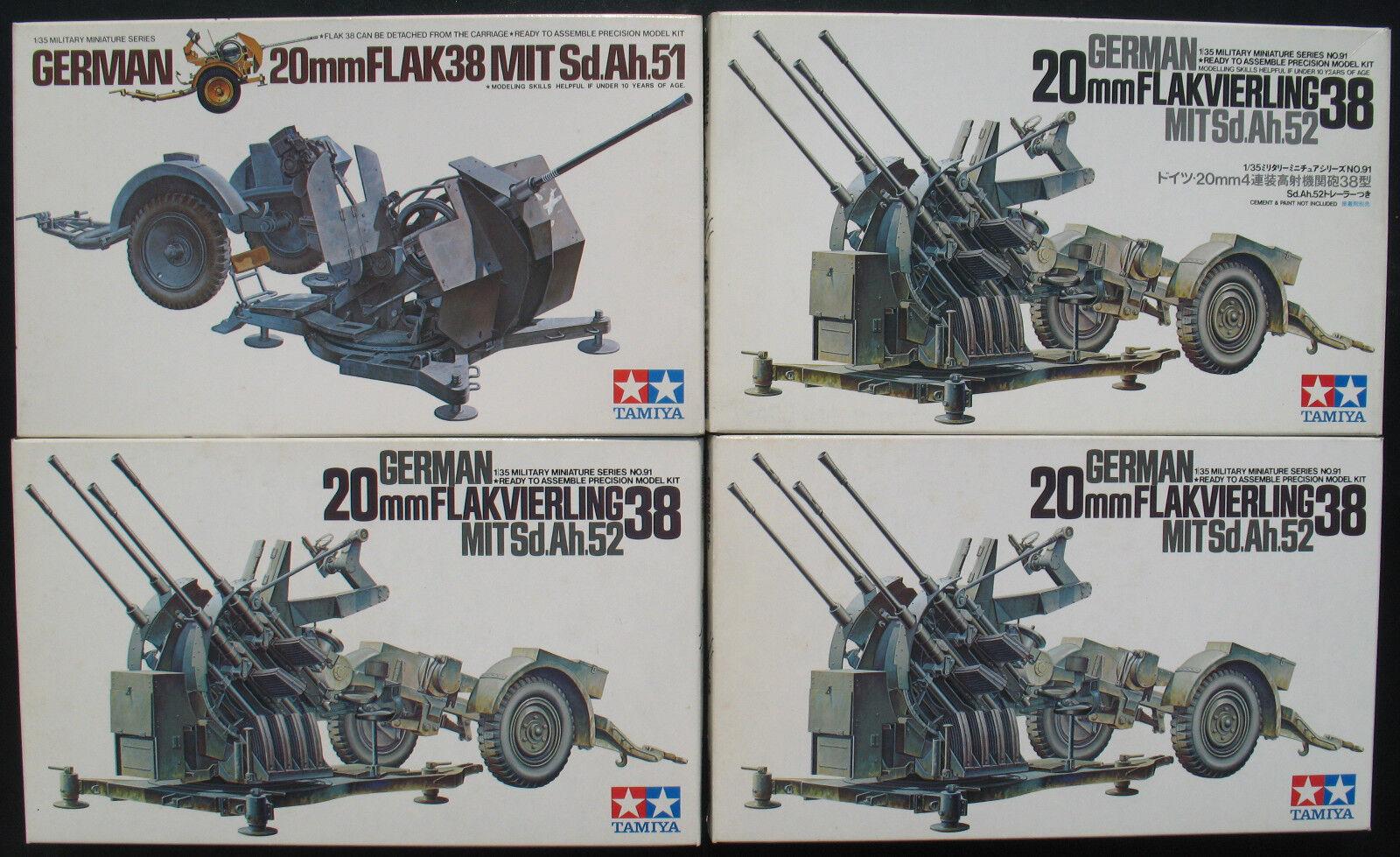 4x TAMIYA MM191 + 202 - German 20mm  FLAK + FLAKVIERLING 38 - 1 35 Modelllbausatz