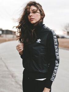 14 Adidas Originals W Shiny Black Track Jacket Size UK 12 673 16 New