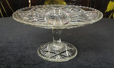 "VINTAGE Antique EAPG Pattern Glass STAR & FILE 8 1/4"" X 4 1/4"" High CAKE STAND"