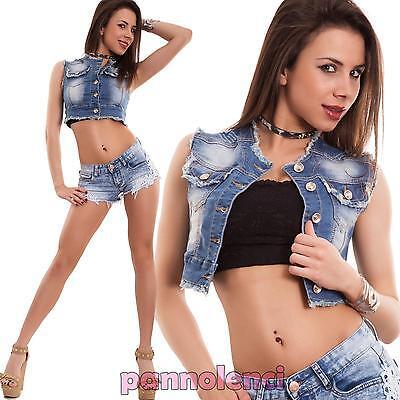 Gilet donna jeans corto smanicato top strappi giubbino giacchetto nuovo T2065