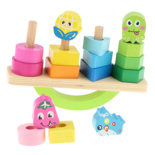 Montessori Wooden Stacking Geometric Block Tower Balancing Puzzle Baby Toys