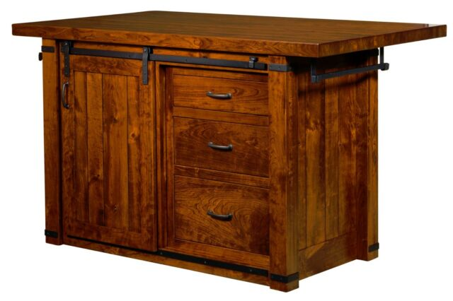 Amish Kitchen Island Snack Bar Rustic Cherry Wood 60\