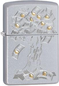 Zippo-Money-Tree-Satin-Chrome-Windproof-Lighter-11322