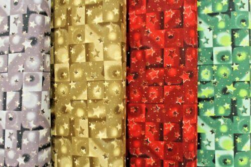 """haute qualité 44/"""" Festif Noël étoiles 4 couleurs Premium 100/% Quilting Cotton"""