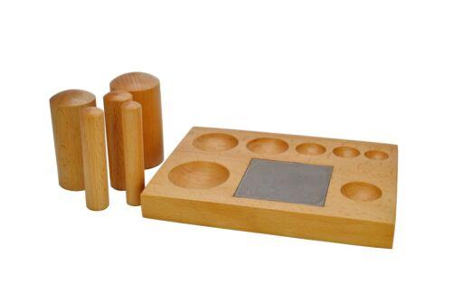 Banco De madera Abovedado Bloque Con Acero Bloque Y 5 X J1500 de madera Embutidores punzones.