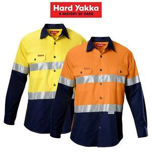 Mens-Hard-Yakka-Koolgear-Hi-Vis-Safety-Summer-Cool-Long-Sleeve-Work-Shirt-Y07978