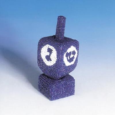 Beaded DREIDEL & Stand ~ ~ ~ ~ Blue Jewish Chanukah Judaica present [Gift Boxed]