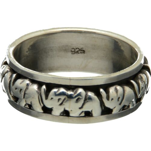 Diseño Stoodio hecha a mano 925 plata esterlina spinning ring elefante