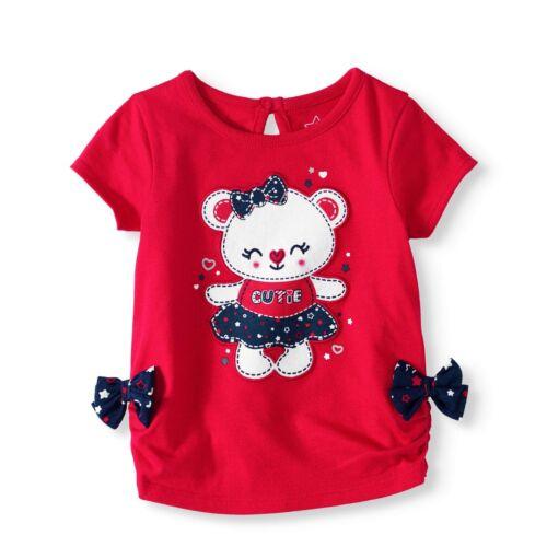 Baby Girls Patriotic Teddy Bear Short Sleeve Top 3D Bows 0-3 3-6 6-9 12 Months