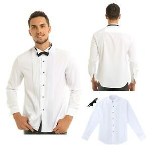 Men-039-s-Smoking-solide-couleur-blanche-robe-chemise-n-ud-papillon-mariage-formel-de-bal-Tops-2XL
