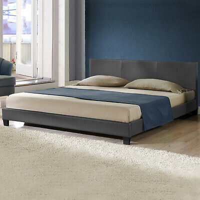 CORIUM® Modernes Polsterbett 180x200cm Dunkelgrau Doppel Ehe Bett Kunst-Leder