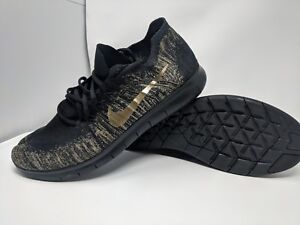 a8b34f18cd0a NIKE ID Free RN Flyknit Running Shoes Black   Gold AA1708 996 Men s ...
