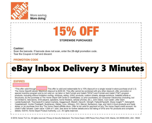 ONE 1x Home Depot 15% OFF Coupon -Instore ONLY Save up to $200 -SENT-FAST-3-min-