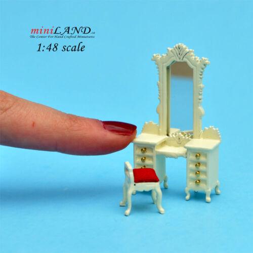 "1:48 1//4/"" quarter scale Victorian dresser w//mirror stool set 2pcs Top quality WH"
